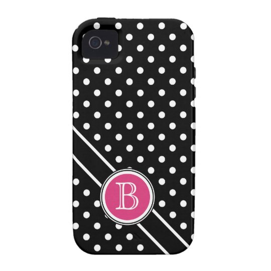 Chic Polkadots with Hot Pink Dot  Monogram iPhone 4 Covers