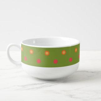 Chic Poppy Colours Polka Dots White Soup Bowl