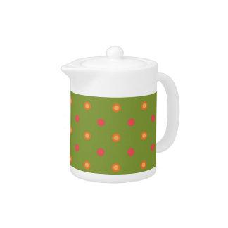 Chic Poppy Colours Polka Dots White Teapot