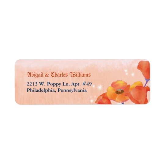 Chic Poppy Meadow Wedding Return Address
