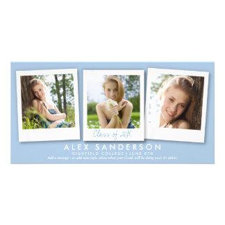 Chic Powder Blue 3 Photo Graduation Announcement Personalised Photo Card