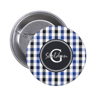 chic preppy blue black gingham pattern monogram pinback buttons