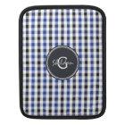 chic preppy blue black gingham pattern monogram iPad sleeve