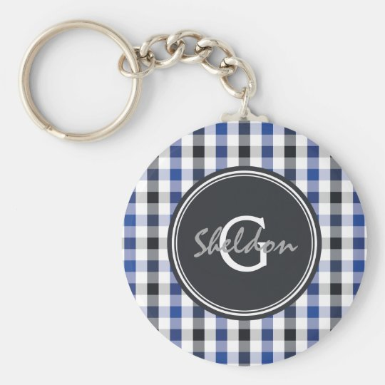 chic preppy blue black gingham pattern monogram key ring