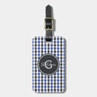 chic preppy blue black gingham pattern monogram luggage tag