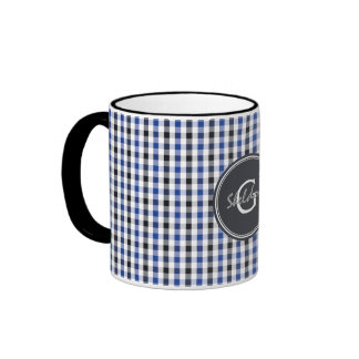 chic preppy blue black gingham pattern monogram coffee mug