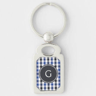 chic preppy blue black gingham pattern monogram Silver-Colored rectangle key ring