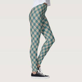 Chic Preppy Blue, Red, Beige Madras Check Pattern Leggings