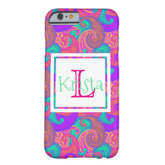 Chic Preppy Paisley Custom Monogrammed Barely There iPhone 6 Case