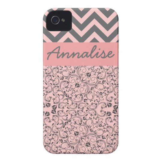 Chic Preppy Pink Damask Customise Personalise iPhone 4 Case-Mate Case