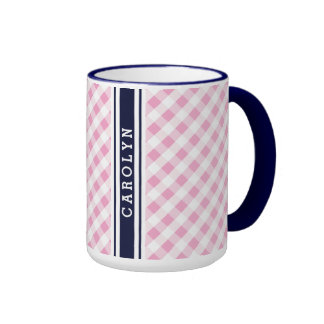 chic preppy pink navy gingham pattern monogram coffee mugs