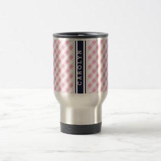 chic preppy pink navy gingham pattern monogram mug