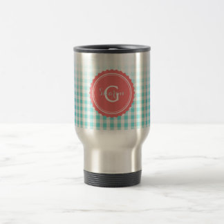chic preppy turquoise gingham pattern monogram mug