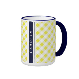 chic preppy yellow navy gingham pattern monogram coffee mug