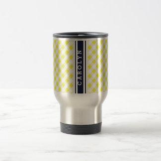 chic preppy yellow navy gingham pattern monogram coffee mugs
