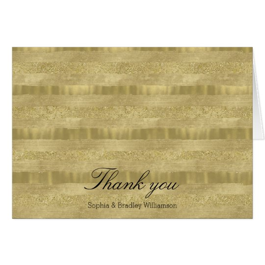 Chic Pretty Gold Stripes Thank you Card