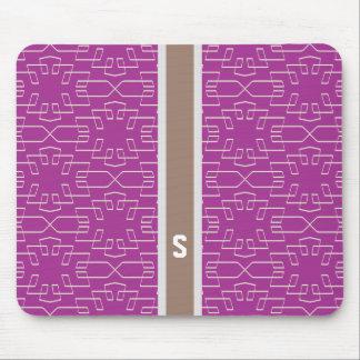 Chic purple abstract geometric pattern monogram mousepads