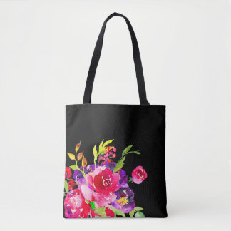 Chic Purple And Pink Floral Watercolor Bouquet Tote Bag