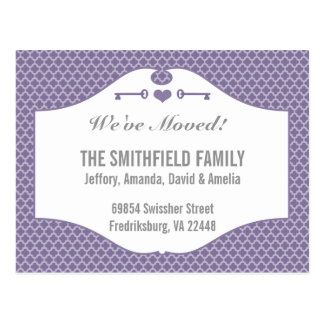 Chic Purple and Slate Quatrefoil Moving Postcards