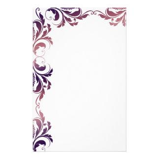 Chic Purple Damask Plain Stationery