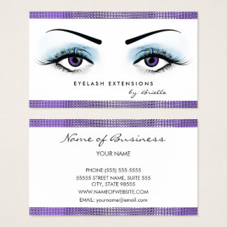 Chic Purple Eyes Girly Eyelash Extensions Boutique Business Card