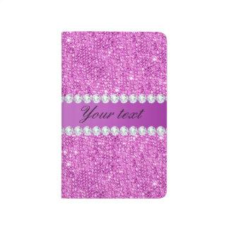 Chic Purple Faux Sequins and Diamonds Journals