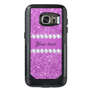 Chic Purple Faux Sequins and Diamonds OtterBox Samsung Galaxy S7 Case