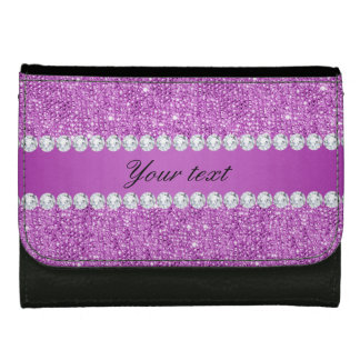 Chic Purple Faux Sequins and Diamonds Wallets