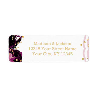 Chic Purple Floral & Gold Wedding Return Address Return Address Label