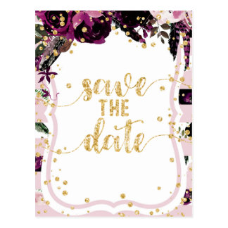 Chic Purple Floral & Gold Wedding Save the Date Postcard