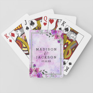 Chic Purple Floral & Silver Frame Wedding Favor Playing Cards