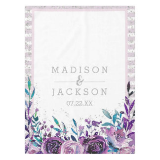 Chic Purple Floral & Silver Wedding Monogram Tablecloth