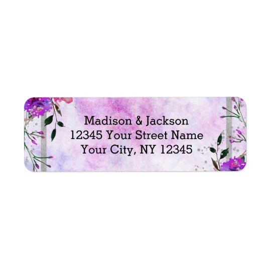 Chic Purple Floral & Silver Wedding Return Address Return Address Label