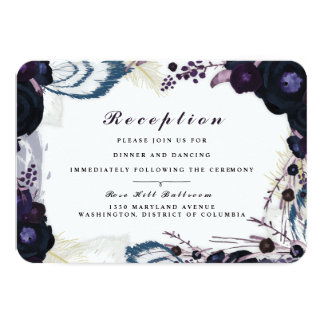 Chic Purple Floral Winter Reception Card