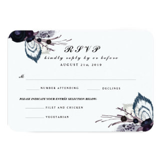 Chic Purple Floral Winter Wedding RSVP Reply Card