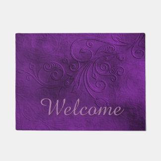 Chic Purple Flourish Welcome Door Mat