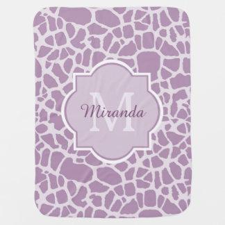 Chic Purple Giraffe Print With Monogram and Name Baby Blanket
