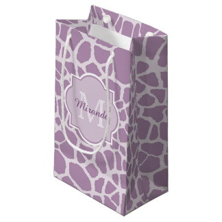 Chic Purple Giraffe Print With Monogram and Name Small Gift Bag