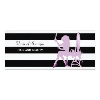 Chic Purple Girl Stripes Salon Gift Certificate 10 Cm X 24 Cm Invitation Card