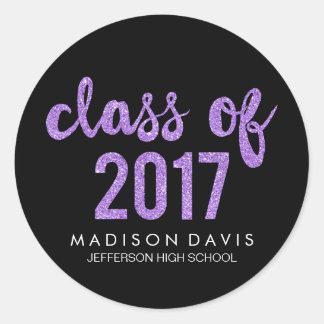 Chic Purple Glitter | Class of 2017 Graduation Classic Round Sticker