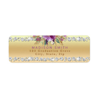 Chic Purple Glitter Flowers Diamonds Gold Return Address Label