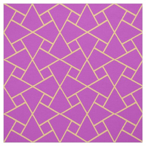 Chic Purple, Gold-effect Islamic Geometric Pattern Fabric