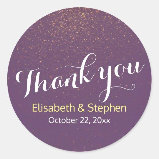 Chic Purple Gold Glitter Sparkle Wedding Thank You