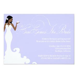 Chic Purple Here Comes the Bride Shower Invite