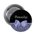 Chic Purple Jaguar Leopard Print Lavender Bow 6 Cm Round Badge