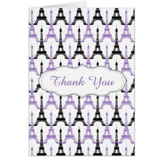 Chic Purple Paris Eiffel Tower Party Thank you Card