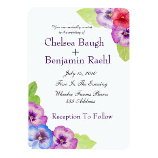 Chic Purple, Pink & Blue Watercolor Pansy Wedding 13 Cm X 18 Cm Invitation Card