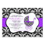 Chic Purple Polka Dot Damask Baby Shower Invite 13 Cm X 18 Cm Invitation Card