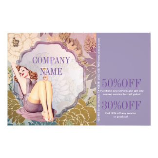 chic purple vintage beauty girly makeup artist 14 cm x 21.5 cm flyer