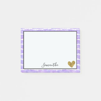Chic Purple Watercolor Stripes Post-it Notes